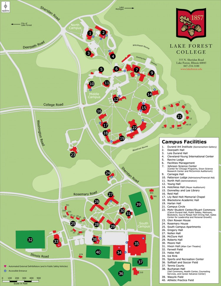 Map of Lake Forest College